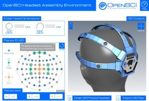 شكل خوذة نظام OpenBCI مع أشكال توضح نقاط توضع الكترودات اقتباس الإشارة والمنظر الرأسي والجانبي للخوذة