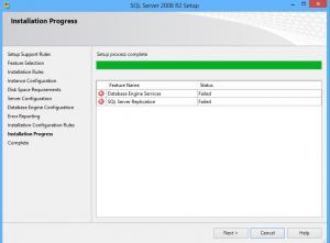 الحالة النهائية لـ SQL Server 2008 بعد ظهور رسالة الخطأ.