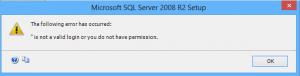 رسالة الخطأ التي تظهر أثناء تنصيب SQL Server 2008