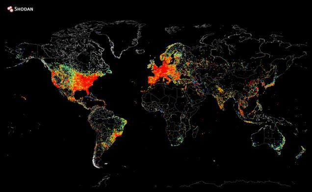 """خريطة كثافة الأجهزة المتصلة بالانترنت والتي تم نشرها عبر موقع """"شودان Shodan"""" في 2 آب/أغسطس من العام الحالي."""